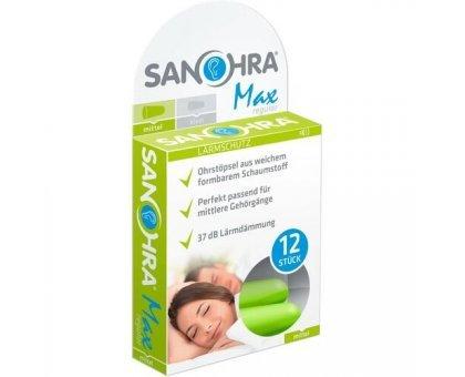 Полипропиленовые беруши для сна SANOHRA max (12 шт = 6пар)